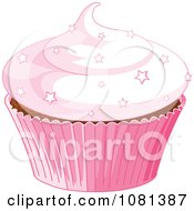 Clipart Pink Cupcake Garnished With Star Sprinkles Royalty Free Vector Illustration by Pushkin