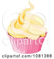 Clipart Cupcake Topped With A Lot Of Yellow Frosting Royalty Free Vector Illustration by Pushkin