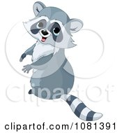 Clipart Cute Raccoon Sitting Upright And Looking Back Royalty Free Vector Illustration by Pushkin