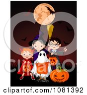 Clipart Group Of Halloween Trick Or Treaters Posing On A Red Background Royalty Free Vector Illustration by Pushkin
