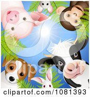 Circle Of Cute Animals Looking Down Against A Blue Sky