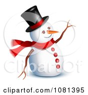 3d Snowman Waving Hello