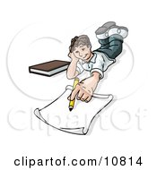 Elementary School Boy Lying On His Stomach And Doing Homework Or Drawing Clipart Illustration