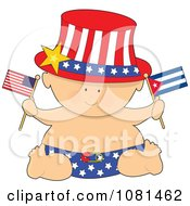 Patriotic Baby Holding American And Cuban Flags