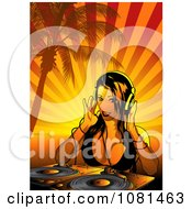 Clipart Female Dj With A Turn Table Under A Palm Tree With Orange Rays Royalty Free Vector Illustration