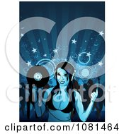 Clipart Female Dj Holding Record By A Dance Crowd Over Blue Royalty Free Vector Illustration