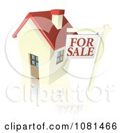 Clipart 3d For Sale Sign And Cute Little House With A Reflection Royalty Free Vector Illustration