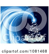 Clipart Shining Christmas Tree Star With Gifts On Blue Royalty Free Vector Illustration