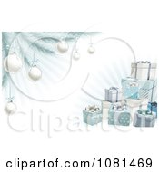 Clipart 3d Christmas Gifts With A Tree Silver Baubles And Rays Royalty Free Vector Illustration