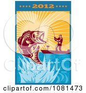 Clipart 2012 Fly Fishing Calendar 2 Royalty Free Vector Illustration