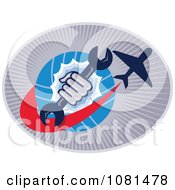 Clipart Globe Fist Airplane And Spanner Wrench Logo Royalty Free Vector Illustration