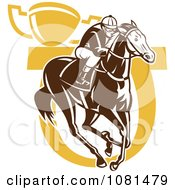 Clipart Brown And Yellow Horse Racing Jockey Horseshoe And Trophy Royalty Free Vector Illustration by patrimonio