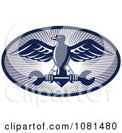 Clipart Blue Eagle And Spanner Wrench Logo Royalty Free Vector Illustration