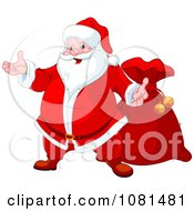 Friendly Santa Presenting And Standing By His Bag