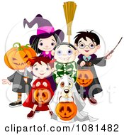 Clipart Group Of Halloween Trick Or Treating Kids And A Dog Royalty Free Vector Illustration
