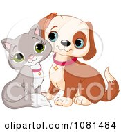 Clipart Cute Gray Kitten And Puppy Cuddling Royalty Free Vector Illustration