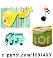 Set Of Music Notes A Drum And Trumpet