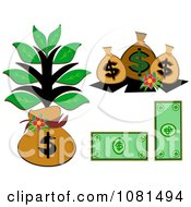 Clipart Set Of Cash Money Bags And A Tree Royalty Free Vector Illustration by bpearth