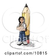 Poster, Art Print Of Back To School Girl Elementary School Student Standing By A Giant Pencil Wearing A Backpack And Holding A Book Clipart Illustration