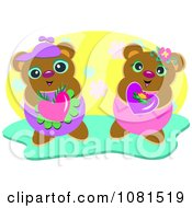 Two Sweet Bears Holding Hearts