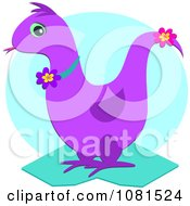 Clipart Purple Dragon With Flowers Over A Blue Circle Royalty Free Vector Illustration by bpearth