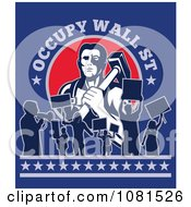 Clipart Occupy Wall St Text Over A Blacksmith And Protestors Royalty Free Vector Illustration