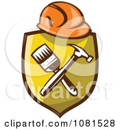 Clipart Retro Hardhat Over A Shield With A Paintbrush And Hammer Royalty Free Vector Illustration