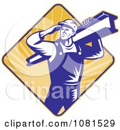 Clipart Retro Construction Worker Carrying A Beam Over A Diamond Of Rays Royalty Free Vector Illustration
