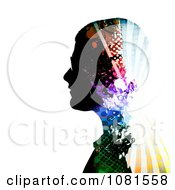 Clipart Colorful Patterned Mans Profile Royalty Free Illustration