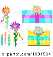 Set Of Floral Birthday Design Elements
