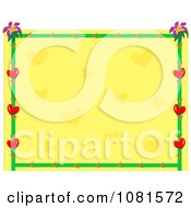 Heart Flower And Bamboo Frame With Yellow Copyspace