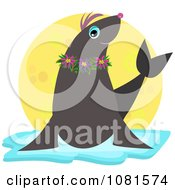 Clipart Seal Wearing Flowers And Resting On Ice With A Yellow Circle Royalty Free Vector Illustration by bpearth