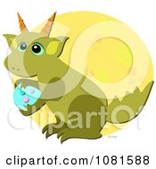 Clipart Green Dragon Carrying An Egg In Front Of A Yellow Circle Royalty Free Vector Illustration by bpearth