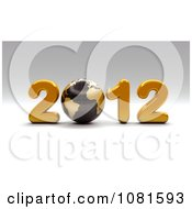 Clipart 3d Golden 2012 With A Black Globe Royalty Free CGI Illustration