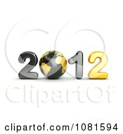 Clipart 3d Black And Gold 2012 With A Globe Royalty Free CGI Illustration