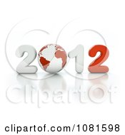 3d White And Red 2012 With A Globe