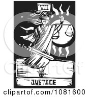 Clipart Black And White Woodcut Styled Justice Tarot Card Royalty Free Vector Illustration