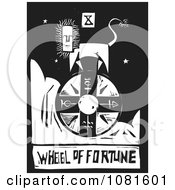 Clipart Black And White Woodcut Styled Wheel Of Fortune Tarot Card Royalty Free Vector Illustration by xunantunich