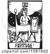 Clipart Black And White Woodcut Styled Fortitude Tarot Card Royalty Free Vector Illustration