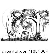 Clipart Black And White Woodcut Cemetery Spiral Tree Royalty Free Vector Illustration by xunantunich