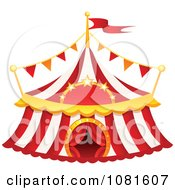 Clipart Red And White Striped Big Top Circus Tent Royalty Free Vector Illustration by yayayoyo #COLLC1081607-0157