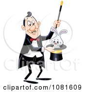 Clipart Magician Performing The Rabbit In A Hat Trick Royalty Free Vector Illustration by yayayoyo