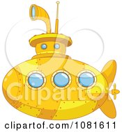 Clipart Cute Yellow Submarine With Blue Windows Royalty Free Vector Illustration