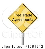 Clipart 3d Yellow Warning Free Trade Agreement Sign Royalty Free CGI Illustration