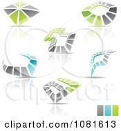 Clipart 3d Abstract Blue Green And Gray Abstract Logo Icons With Reflections Royalty Free Vector Illustration