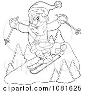 Clipart Outlined Santa Catching Air On Skis Royalty Free Vector Illustration by visekart