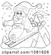 Clipart Outlined Santa Snomobiling Royalty Free Vector Illustration