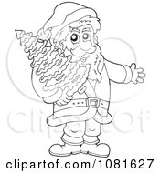 Clipart Outlined Santa Carrying A Christmas Tree Royalty Free Vector Illustration