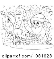 Clipart Outlined Santa And Reindeer In The Snow Royalty Free Vector Illustration
