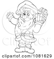 Clipart Outlined Santa Holding A Gift Royalty Free Vector Illustration